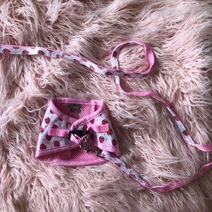 Strawberry Dog Harness & Leash